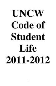 UNCW Code of Student Life 2011-12