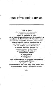 Une fête brésilienne célébrée à Rouen en 1550; suivie d-un fragment du XVIe siècle roulant sur la théogonie des anciens peuples du Brésil, et des poésies en langue tupique de Christovam Valente;