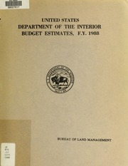 United States Department Of The Interior Budget Estimates Bureau Of Land Management F Y 1979