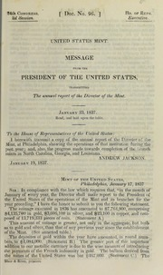 United States Mint : message from the President of the United States, transmitting the annual report of the Director of the Mint