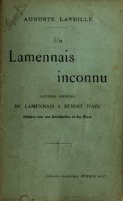 Un Lamennais inconnu : lettres inédites de Lamennais à Benoit d-Azy