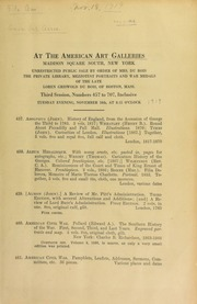 Unrestricted public sale by order of Mrs. Du Bois : the private library, Mezzotint portraits and war medals of the late Loren Griswold Du Bois ... [11/18/1919]