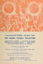 Unrestricted public auction sale : the Samuel Tatnall collection et al ... [04/21-24/1962]