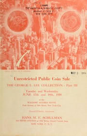 Unrestricted public coin sale : the George L. Lee collection ... [06/17-18/1958]