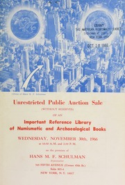 Unrestricted public auction sale of an important reference library of numismatic and archaeological books. [11/30/1966]