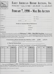Mail Bid Auction: February 7, 1998 - Autographs, Coins, Currency, Americana