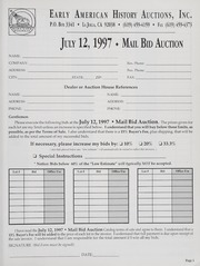 Mail Bid Auction: July 12, 1997 - Autographs, Coins, Currency, Americana