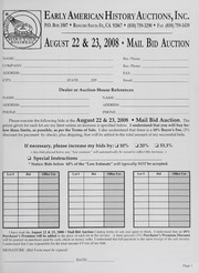 Mail Bid Auction: August 22 and 23, 2008 - Autographs, Coins, Currency, Americana