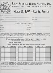 Mail Bid Auction: March 15, 1997 - Autographs, Coins, Currency, Americana