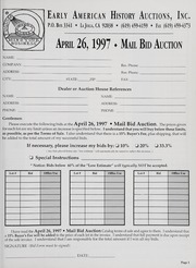 Mail Bid Auction: April 26, 1997 - Autographs, Coins, Currency, Americana