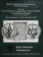 Historic American Coins, Currency & Printed Americana: March 21, 1992