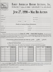 Mail Bid Auction: June 27, 1998 - Autographs, Coins, Currency, Americana