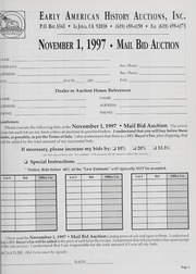 Mail Bid Auction: November 1, 1997 - Autographs, Coins, Currency, Americana
