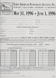 Mail Bid Auction: May 31, 1996 and June 1, 1996 - Autographs, Coins, Currency, Americana