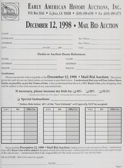 Mail Bid Auction: December 12, 1998 - Autographs, Coins, Currency, Americana