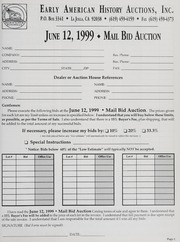Mail Bid Auction: June 12, 1999 - Autographs, Coins, Currency, Americana