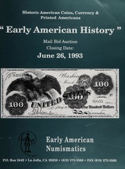 Early American History Mail Bid Auction: June 26, 1993