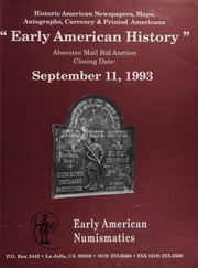 Early American History Mail Bid Auction: September 11, 1993