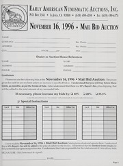 Mail Bid Auction: November 16, 1996 - Autographs, Coins, Currency, Americana