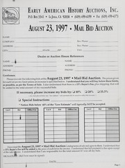 Mail Bid Auction: August 23, 1997 - Autographs, Coins, Currency, Americana