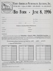 Mail Bid Auction: June 8, 1996 - Coins and Currency