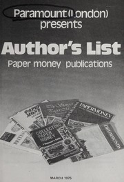 Author's List: Paper Money Publications