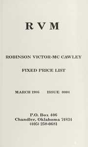 Robinson Victor-McCawley Fixed Price List #4