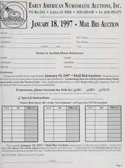 Mail Bid Auction: January 18, 1997 - Autographs, Coins, Currency, Americana