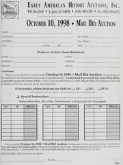 Mail Bid Auction: October 10, 1998 - Autographs, Coins, Currency, Americana