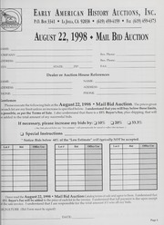 Mail Bid Auction: August 22, 1998 - Autographs, Coins, Currency, Americana