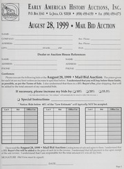 Mail Bid Auction: August 28, 1999 - Autographs, Coins, Currency, Americana