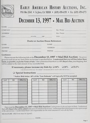 Mail Bid Auction: December 13, 1997 - Autographs, Coins, Currency, Americana