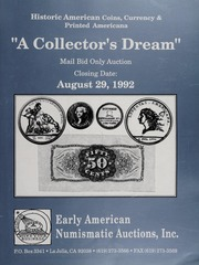 Historic American Coins, Currency & Printed Americana, A Collector's Dream: August 29, 1992