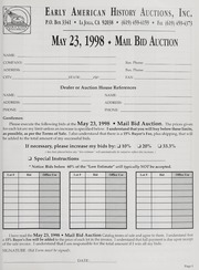 Mail Bid Auction: May 23, 1998 - Autographs, Coins, Currency, Americana
