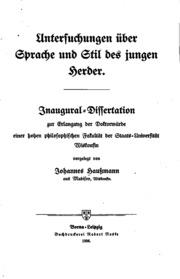 Untersuchungen über Sprache und Stil des jungen Herder ..