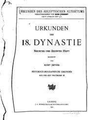 Urkunden der 18. Dynastie: Historisch-biographische Urkunden
