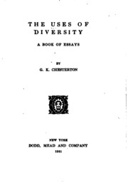 the uses of diversity a book of essays chesterton g k the uses of diversity a book of essays