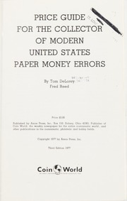 Price Guide for the Collector of Modern United States Paper Money Errors