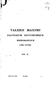 valerii maximi factorum dictorumque memorabilium libri