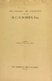 The valuable art collection of the late M. C. D. Borden ... [02/15/1913]