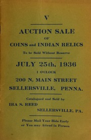 V. Auction sale of coins and Indian relics ... Sellersville, PA. [07/25/1936]