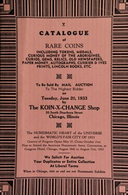 V. Catalogue of rare coins, including tokens, medals, curious money of the aborigines, ... paper money, ... to be sold by mail auction to the highest bidder ... [06/20/1933]
