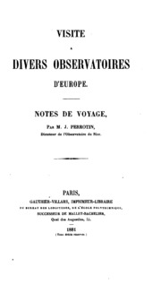 Visite a divers observatoires d-Europe: Notes de voyage