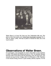 Biographical Notes on Walter Breen