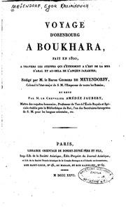 Voyage d-Orenbourg à Boukhara, fait en 1820, à travers les steppes qui s-étendent à l-est de la mer d-Aral et au-delà de l-ancien Jaxartes;