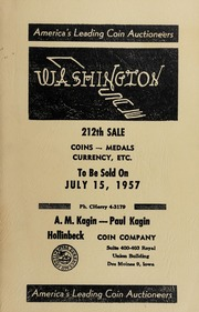 Washington Sale: 212th Sale - Coins, Medals, Currency, Etc.