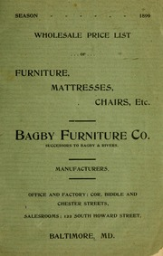 Wholesale Price List Of Furniture, Mattresses, Chairs, Etc. : Bagby  Furniture Co. (Baltimore, Md.) : Free Download U0026 Streaming : Internet  Archive