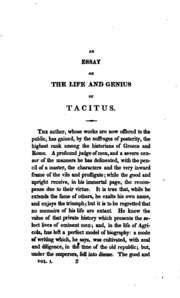 tacitus essay Germania according to tacitus sean queenan 998364201 17 february 2012 his101 introduction to historical studies instructor: dr mairi cowan word count: 1,136 tacitus.