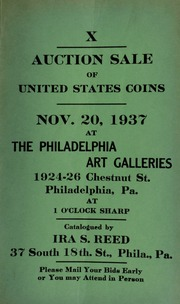 X. Auction sale of United States coins ... at the Philadelphia Art Galleries ... [11/20/1937]