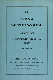 XI. Coins of the world auction ... at The Hobby Shop ... Rochester, N.Y., Paul M. Lange, numismatist. [09/21/1929]